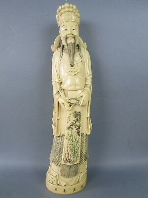 Fine Chinese Late Qing Dinasty Polycromed Paiting Dignitary Solid Sculpture