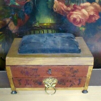 Sarchophagus Shaped Decorated Sewing Box 19c Pin Cushion