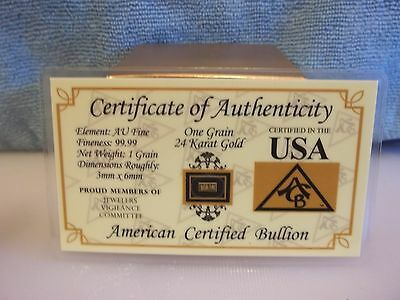 One Grain Gold Bar, With Assay Card, 24K  99.99 Pure