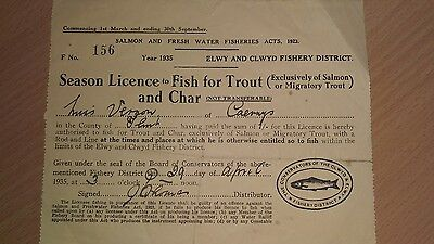 3 X Old fishing Licences , 1933 ,1939 , 1935 good for mancave  Bargain