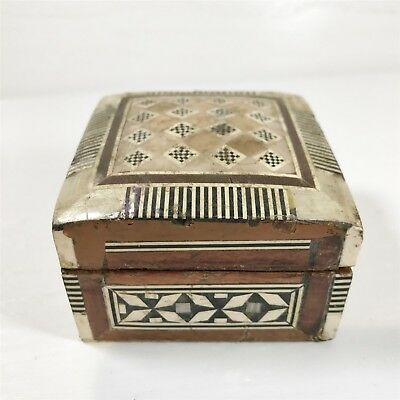 Antique Wooden Inlaid Jewellery / Ring Box - Collectable Vintage Hand Made
