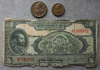 1945 Ethiopian $5 Currency Note w/ (2) Different Coins.