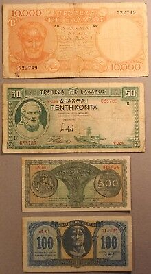 1939-1950, Greece (4) Different Currency Note Set w/ 1926 1 Drachma Nickel Coin!