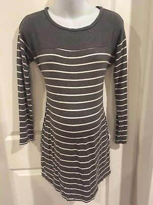 A Pea in the Pod Maternity Dress Tunic Top Large L Gray Striped