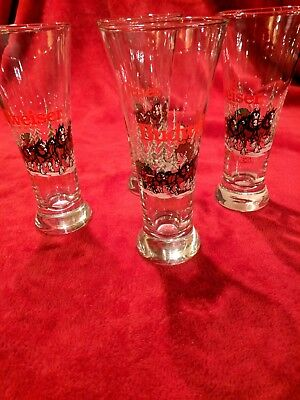 """1989 Budweiser Pilsner Beer Glass Clydesdales Christmas 7.25"""" Tall"""