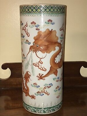 Antique Chinese Guangxu Nian Zhi Imperial Dragon Cylindrical Vase 11.5 tall