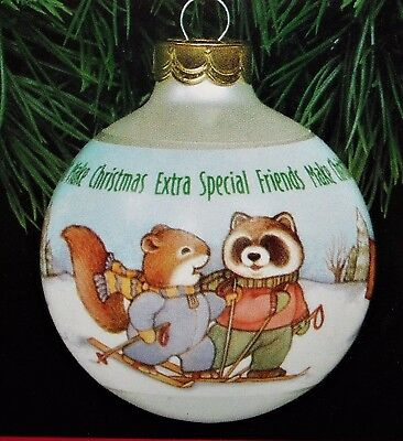 1991 Hallmark EXTRA-SPECIAL FRIENDS Glass Ball Dated Raccoon Squirrel Skis NEW