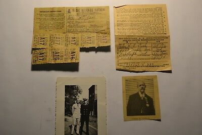 World War II  Mileage Ration coupons & card vintage photograph WW2