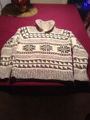 VTG Heavy Wool Cowichan Sweater Snowflakes 70s Cowl Neck Collar Pullover Med-Lg
