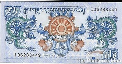Bhutan 1 Ngultrum, P - 27a, Crisp UNC, Palace and Two Dragons !