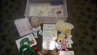 Lot of gently used pink gingham baby girl keepsake box with NEW & used items