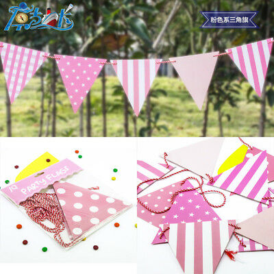 3.2M Paper Party Bunting Banner 2-sided Pink Dot Stripe Check Party Flags KK02 E