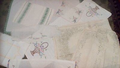 "Lot of 10 VINTAGE embroidered and/or crocheted ""dresser scarves"""
