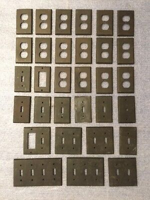 Old Used Solid Brass House Electrical Switch Plates & Outlet Covers Lot Of 31