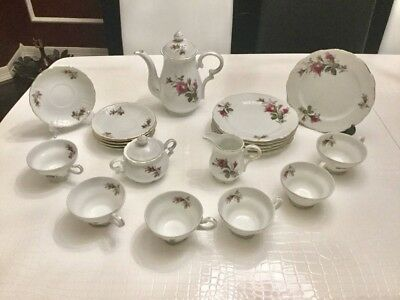 29 Pieces Complete Vintage Moss Rose Tea Coffee Set for six (6) people