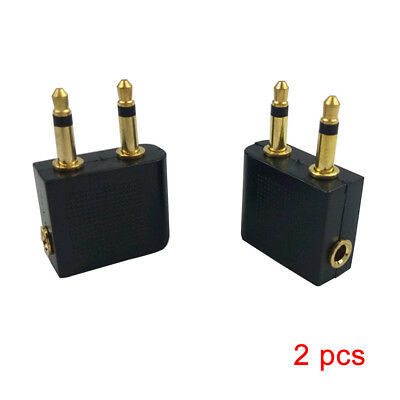 2X Standard 3.5mm Pro Airline Airplane Golden Plated Headphone Jack Plug Adapter