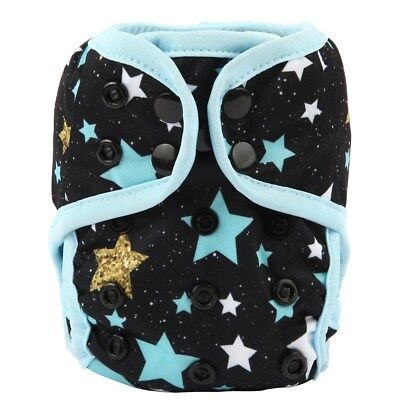 2018 NEWBORN Cloth Diaper Cover Baby Nappy Reusable 2 Gusset 8-10lbs Stars