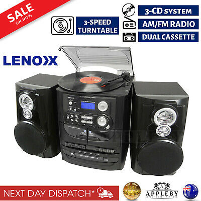 Vinyl Record Player Hi Fi Turntable 3 CD System Stereo Cassette Recorder Players