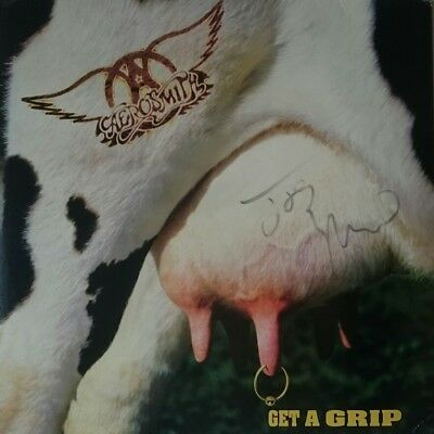 AEROSMITH JOE PERRY GET A GRIP ALBUM AMAZING 2LP's HAND SIGNED AUTOGRAPHED