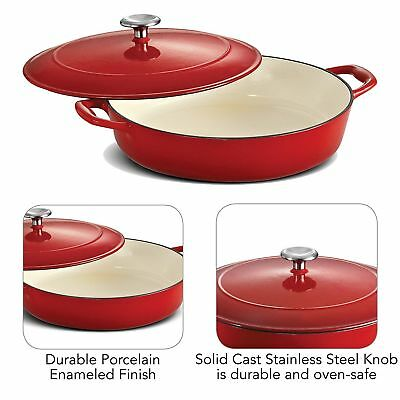 Cast Iron 4 Quart Round Porcelain Enameled Cooking Surface Covered Braiser Red