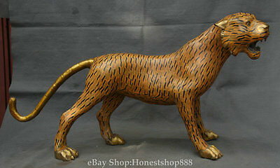 """26"""" Rare Chinese Cloisonne Bronze Gilt Wild Brave Tiger Leopard Panther Statue"""