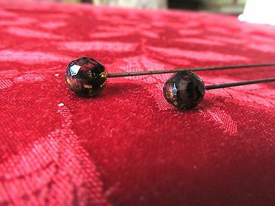 "Pair Matching Antique / Vintage Hat Pin w/ Dark Amber Bead Heads  3/8"" diameter"