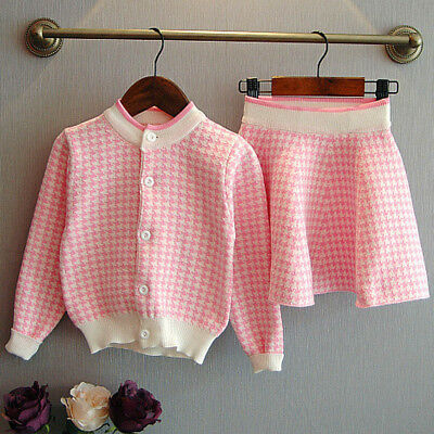 Toddler Cute Kids Baby Girls Outfit Clothes Knitted Sweater Coat Tops+Skirt Set