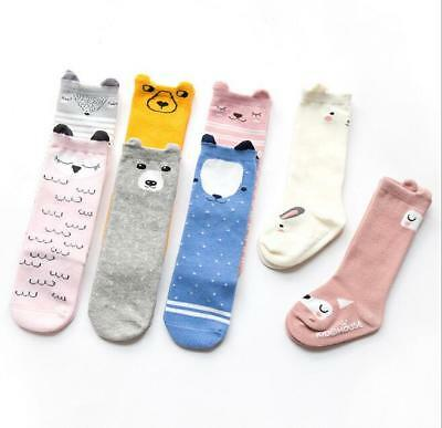 Hot Cute Cotton Baby Socks Anti-Slip Infant Knee High Socks Newborn Baby Socks