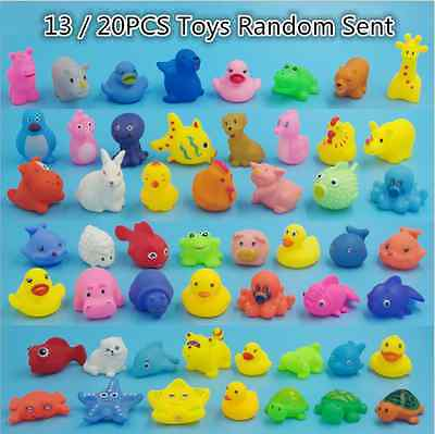 13/20pcs Animals Kids Toys Soft Rubber Float Sqeeze Sound Baby Wash Bath Play