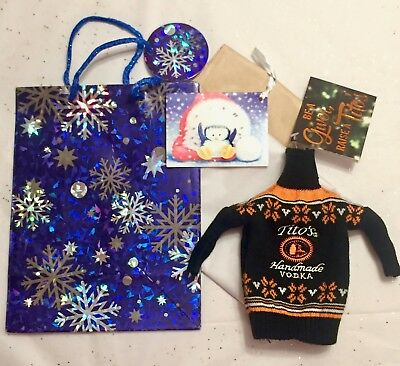 New Tito's Handmade Vodka Ugly Sweater Bottle Cover 750 ml Bottle w/ Gift Bag
