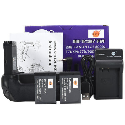 DSTE EOS 800D Battery Grip with 2 LP-E17 and USB Charger for Canon 800D 9000D