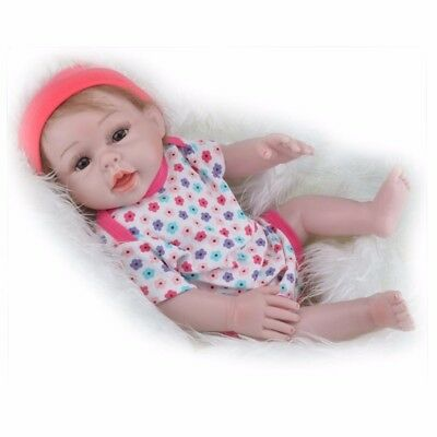 "SALE 22"" Full Silicone Lifelike Baby Girl Doll Vinyl Reborn Newborn Toy +Clothes"