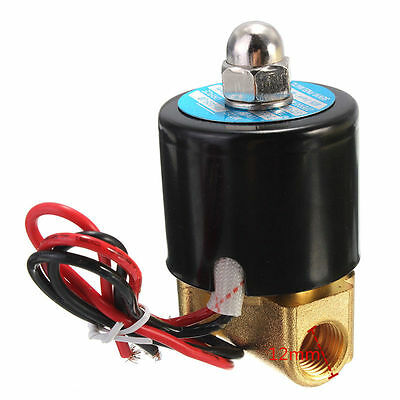 """1pcs 1/4"""" 2 Way N/C Electric Solenoid Valve 12V DC for Air Gas Fuel brass body"""