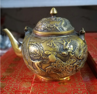Collectible Decorated Old Handwork brass carven dragon&phoenix statue teapot