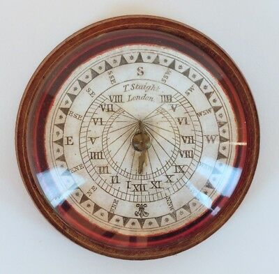 *rare Pocket Sundial Compass By Thomas Staight Of London C. 1829-1840 Rare*