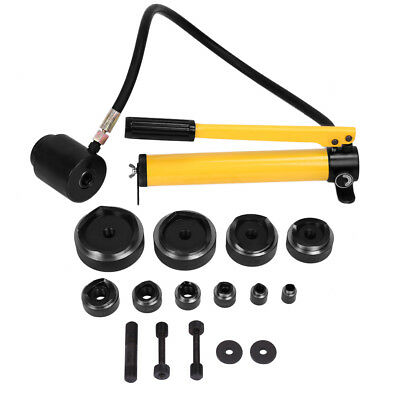 "15ton 1/2"" to 4 1/2"" Hydraulic Knockout Punch Kit Hand Pump with 10 Dies"