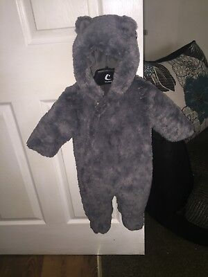 grey fur snowsuit baby boys 3-6 months from mother care in good condition
