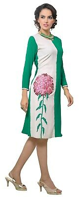 Indian Georgette Party Wear Round Neck White Color Calf Length Kurti