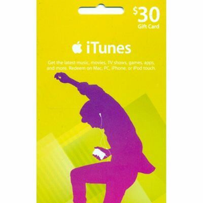 Apple iTunes $30 USD Code Voucher Certificate Gift Card 30 Dollars US Store Key