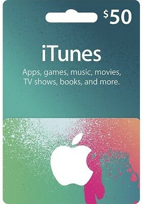 Apple iTunes $50 USD Code Voucher Certificate Gift Card 50 Dollars US Store Key