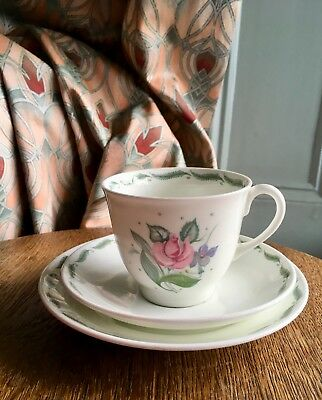 """Susie Cooper """"Fragrance"""" Trio /1950's/collectable/Blue Signed/Cup,saucer+plate"""