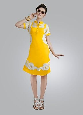 Indian Georgette Party Wear Round Neck Yellow Color Calf Length Kurti