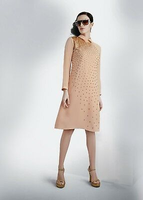 Indian Georgette Party Wear Round Neck Peach Color Calf Length Kurti