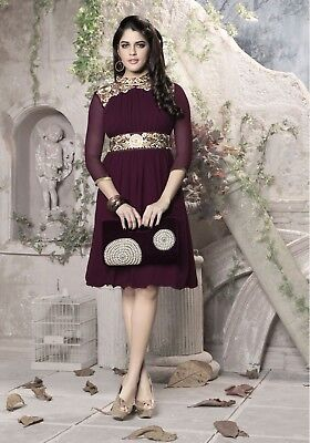 Indian Georgette Party Wear Round Neck Maroon Color Calf Length Kurti