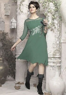 Indian Georgette Party Wear Round Neck Green Color Calf Length Kurti
