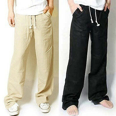 KD_ Men's Casual Loose Drawstring Waist Solid Linen Trousers Beach Pants Fashi