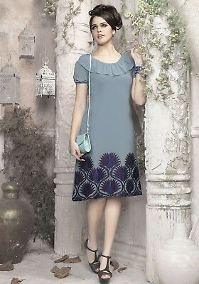Indian Georgette Party Wear Round Neck Grey Color Calf Length Kurti