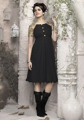 Indian Georgette Party Wear Round Neck Black Color Calf Length Kurti