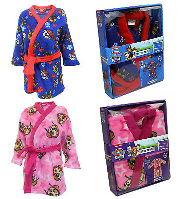 Paw Patrol Boys Girls Dressing Gown Bath Robe In Presentation Box Size 2-5 Years
