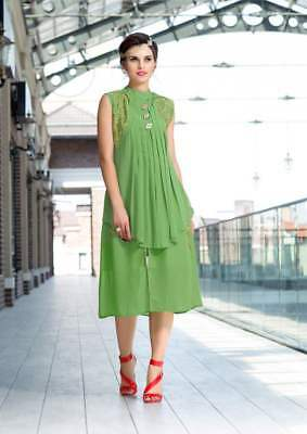 Indian Designer Faux Georgette Party Wear Round Neck Green Color Kurti